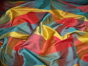 STROHEIM & ROMANN IRIDESCENT CARIBE 2 PLY SILK DUPIONI CHECK FABRIC 19 YARDS