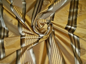STROHEIM & ROMANN MELROSE SILK SATIN STRIPE FABRIC  BRONZE