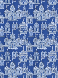 STROHEIM & ROMANN OCCIDENTAL ASIAN COTTON FABRIC COBALT BLUE