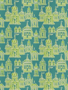 STROHEIM & ROMANN OCCIDENTAL ASIAN COTTON FABRIC PEACOCK