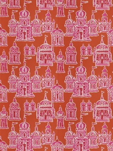 STROHEIM & ROMANN OCCIDENTAL ASIAN COTTON FABRIC PINK PERSIMMON