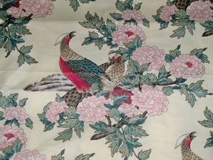 STROHEIM & ROMANN PHEASANT BIRDS TOILE CHINTZ FABRIC 12 YARDS