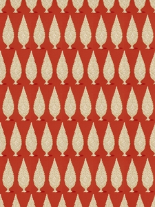STROHEIM & ROMANN PRIYA ETHNIC CHINOISERIE COTTON FABRIC PERSIMMON