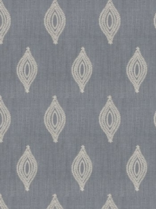 STROHEIM & ROMANN TREMOLO SILK EMBROIDERED FABRIC SLATE