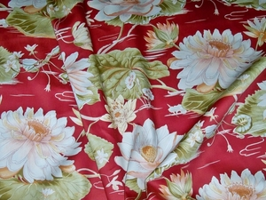 STROHEIM TROPICAL LILY POND FABRIC 24 YARD REMNANT BURGUNDY OYSTER PINK SAGE MULTI