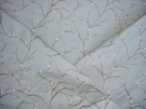 STUNNING DESIGNER PUSSY WILLOW EBROIDERED VELVET FABRIC BLUE OYSTER