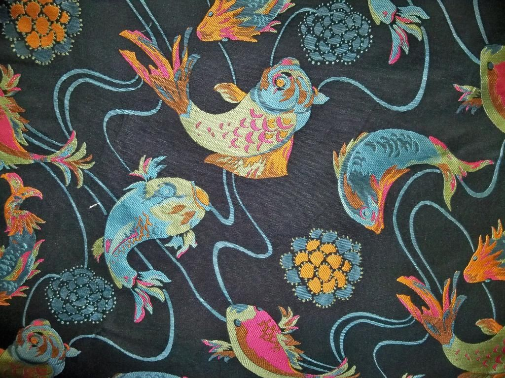Stunning koi fish good luck toile brocade fabric black for Green koi fish for sale
