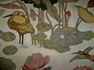 SWATCH G P & J BAKER NYMPHEUS BIRDS LINEN PRINT FABRIC BISCUIT TAUPE