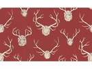 SWATCH LEE JOFA / ERIC COHLER ANTLERS LINEN FABRIC RED