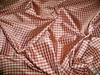 TAPESTRIA FRENCH COUNTRY GINGHAM CHECK SILK FABRIC BURGUNDY GOLD