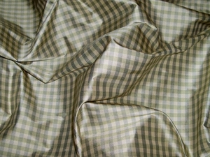 TAPESTRIA FRENCH COUNTRY GINGHAM CHECK SILK FABRIC CELADON MINT CREAM