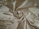 TAPESTRIA FRENCH COUNTRY GINGHAM CHECK SILK FABRIC GOLD CREAM