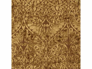 THREADS BRILLIANCE DAMASK VELVET FABRIC  CARAMEL BROWN BEIGE