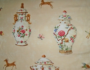 TRAVERS CUTHBERT HALL PORCELAIN VASES TUREENS TEAPOTS FABRIC 12 YARDS CREAM MULTI