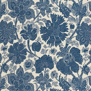 VERVAIN AIDA PRINTED FLORAL FABRIC ROYAL