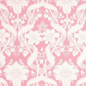 VERVAIN BALLASTONE ON LINEN FLORAL FABRIC BUBBLEGUM