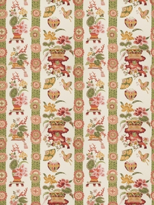 VERVAIN BIANCARA CHINOISERIE FLORAL COTTON PRINTED FABRIC GARDEN