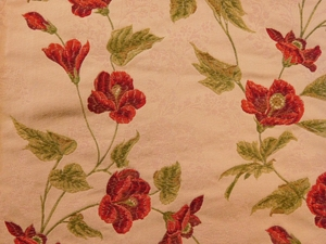 VERVAIN BOURGEON SILK WOVEN FLORAL FABRIC CLARET