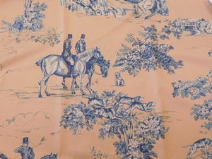 VERVAIN ELWAY HALL TOILE BD HUNTING HORSE DOG COTTON PRINT FABRIC BLUEBERRY