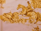 VERVAIN ELWAY HALL TOILE BD HUNTING HORSE DOG COTTON PRINT FABRIC DAYBREAK