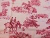 VERVAIN ELWAY HALL TOILE BD HUNTING HORSE DOG COTTON PRINT FABRIC MAHOGANY ON CELADON