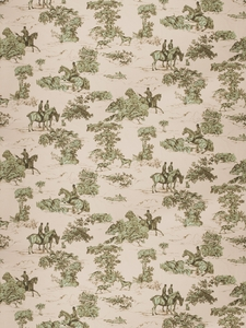 VERVAIN ELWAY HALL TOILE BD HUNTING HORSE DOG COTTON PRINT FABRIC POND RIPPLE