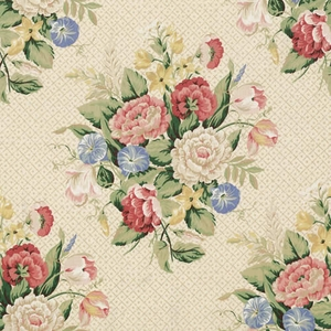 VERVAIN ENGLISH BOUQUET LINEN FLORAL FABRIC ARTWORK