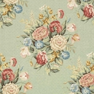 VERVAIN ENGLISH BOUQUET LINEN FLORAL FABRIC MINT