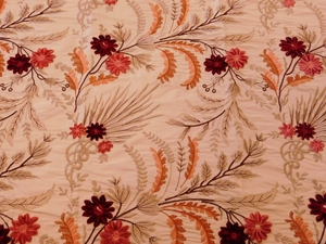VERVAIN FLEUR DE MER FLORAL EMBROIDERED SILK FABRIC CRIMSON CORAL