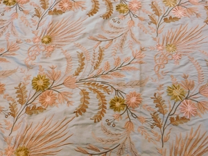VERVAIN FLEUR DE MER FLORAL EMBROIDERED SILK FABRIC SEAGLASS