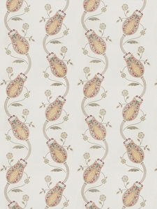 VERVAIN KALAMKARI EMBROIDERED LINEN FABRIC PASSION FRUIT