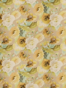 VERVAIN MIDSUMMER FLORAL PRINT LINEN FABRIC LILY POND