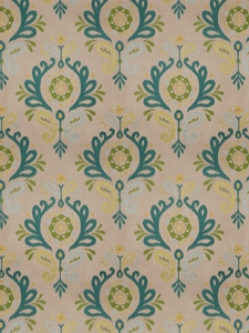 VERVAIN PASCAL DAMASK FABRIC PEACOCK ON LINEN