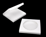 "1000 - 14"" x 14"" x 1 1/2"" White/White Lock & Tab Cookie Box with Window"