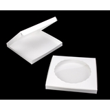 "1000 - 14"" x 14"" x 1 1/2"" White/White with Window, Lock & Tab Box With Lid"