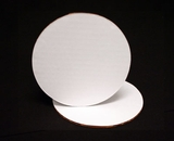 118 - 6 inch White Cake Round, Coated Corrugated Single Wall Cake Board. C02