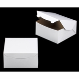 "1210 - 8"" x 8"" x 4"" White/Brown Lock & Tab Box without Window"