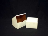 "1212 - 8"" x 8"" x 5"" White/Brown without Window, Lock & Tab Box With Lid. A27"