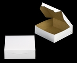 "1213 - 9"" x 9"" x 3"" White/Brown Lock & Tab Box without Window. A24"