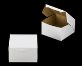 "1220 - 10"" x 10"" x 6"" White/Brown without Window, Lock & Tab Box With Lid. A22xA22"