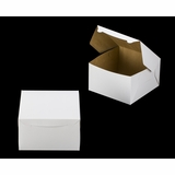 "1220 - 10"" x 10"" x 6"" White/Brown Lock & Tab Box without Window"