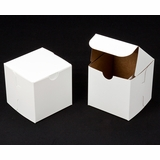 "1411 - 4"" x 4"" x 4"" White/Brown without Window, One Piece Lock & Tab Box With Lid"