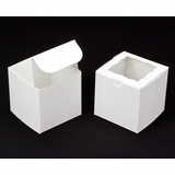 "1412 - 4"" x 4"" x 4"" White/White Lock & Tab Box with Window"