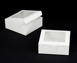 "1724 - 8"" x 8"" x 3"" White/White with Window, Lock & Tab Box With Lid"