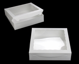 "1727 - 12"" x 12"" x 3""  White/White Lock & Tab Box with Window, 50 COUNT"