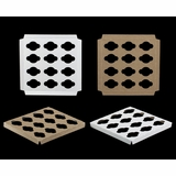"1734 - 10"" x 10"" x 3/4""  1 Dozen Mini Cupcake Insert, Reversible White/Brown"