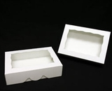 "1741 - 10"" x 7"" x 2 1/2"" White/White with Window, Timesaver Box with Lid. A18"