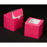 "1829 - 4"" x 4"" x 4"" Pink/White Lock & Tab Box with Window"