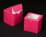 "1829 - 4"" x 4"" x 4"" Pink/White with Window, One Piece Lock & Tab Box With Lid. B09"
