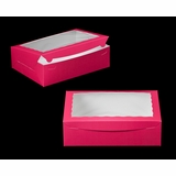 "1830 - 14"" x 10"" x 4"" Pink/White Lock & Tab Box with Window"